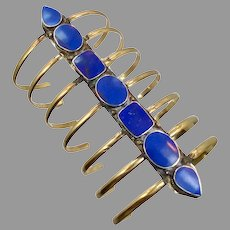 Long Cuff, Lapis Bracelet, Afghan, Vintage Bracelet, Middle Eastern, Massive, Lapis Composite, Brass, Kuchi