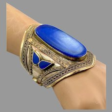 Lapis Bracelet, Afghan, Middle Eastern, Vintage Bracelet, Silver, Mixed Metal, Wide Cuff, Turkmen, Kuchi, Gypsy, Big Statement, Large
