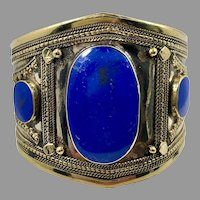 Lapis Bracelet, Afghan, Kuchi Jewelry, Silver Cuff, Brass, Mixed Metal, Vintage Cuff, Middle Eastern, Turkmen