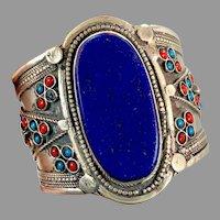 Lapis Bracelet, Afghan, Middle Eastern, Vintage Bracelet, Silver, Turquoise, Red, Wide Cuff, Turkmen, Kuchi, Gypsy, Big Statement, Large