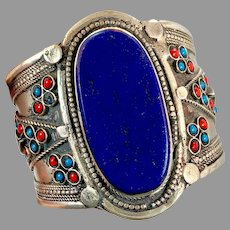 Lapis Bracelet, Afghan, Middle Eastern, Vintage Bracelet, Silver, Turquoise, Red, Wide Cuff, Turkmen, Kuchi, Gypsy, Big Statement, Large