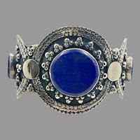 Lapis Bracelet, Kuchi Jewelry, Silver Cuff, Vintage Cuff, Turkmen, Unisex, Big Statement, Afghan, Ethnic Tribal, Large Boho, #2