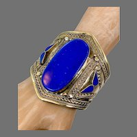 Lapis Bracelet, Middle Eastern, Vintage Bracelet, Afghan, Silver ,Brass, Mixed Metal, Wide Cuff, Turkmen, Kuchi, Gypsy, Big Statement, Large