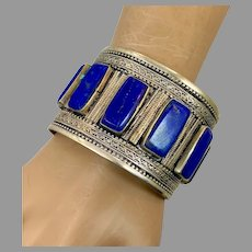 Lapis Bracelet, Kuchi Jewelry, Silver Cuff, Vintage Turkmen, Middle Eastern, Big Statement, Afghan, Ethnic, Tribal, Boho, Unisex, Mens