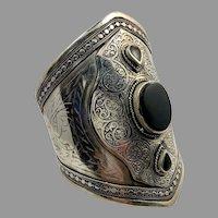 Black Stone Cuff, Agate Aqeeq Stone, Vintage Bracelet, Afghan, Silver Wide Cuff, Middle Eastern, Kuchi, Gypsy