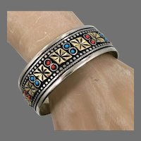 Afghan Cuff, Kuchi, Silver Metal, Brass, Vintage Jewelry, Middle Eastern, Red, Turquoise, Stacking, Gypsy