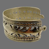Afghan Cuff, Kuchi Bracelet, Silver Metal, Vintage Bracelet, Middle Eastern, Gypsy, Ethnic, Nomad, Tribal, Boho, Bohemian #2