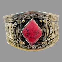 Pink Bracelet, Middle Eastern, Afghan Cuff, Vintage Bracelet, Ethnic, Tribal, Composite Stone, Turkomen, Kuchi