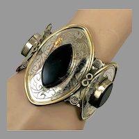 Black Stone Cuff, Afghan, Vintage Bracelet, Agate Aqeeq Stone, Silver Cuff, Middle Eastern, Kuchi, Gypsy, Wide