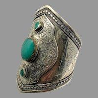 Afghan Bracelet, Silver Wide Cuff, Vintage Bracelet, Stone, Composite Turquoise, Massive, Kuchi Jewelry, Big Statement, Ethnic, Large, Boho