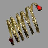 Big Coil Bracelet, Snake Bracelet, Brass, Kuchi, Vintage Bracelet, Red Glass, Middle Eastern, Long, Afghan