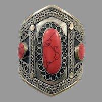 Afghan Cuff, Red Jasper Bracelet, Vintage Bracelet, Jasper Composite, Turkomen, Kuchi Bracelet, Big Gypsy, Ethnic, Boho, Wide Statement, #2