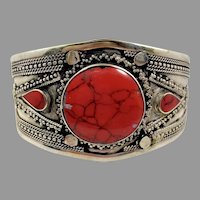 Red Jasper Bracelet, Middle Eastern, Afghan Cuff, Vintage Bracelet, Jasper Composite, Turkomen, Kuchi Bracelet