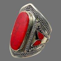 Red Bracelet, Jasper, Silver, Afghan Cuff, Vintage Bracelet, Middle Eastern, Nomad, Kuchi, Big, Composite Stone, Gypsy, Ethnic, Wide
