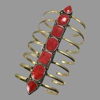 Long Cuff, Red Jasper Bracelet, Afghan, Vintage Bracelet, Middle Eastern, Jasper Composite, Brass, Kuchi