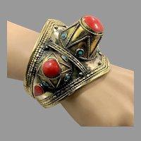 Spiked Bracelet, Kuchi, Vintage Cuff, Red Jasper, Afghan, Middle Eastern, Mixed Metal, Composite Stone, Massive, Statement, Ethnic, Large