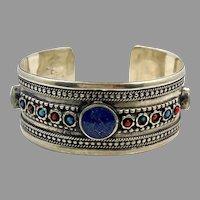 Lapis Bracelet, Afghan, Middle Eastern, Vintage Bracelet, Silver, Turquoise, Red, , Turkmen, Kuchi, Gypsy, Stacking