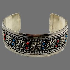 Afghan Cuff, Kuchi, Silver Metal, Vintage Jewelry, Middle Eastern, Red, Turquoise, Stacking, Gypsy