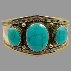 Turquoise Bracelet, Afghan, Kuchi, Vintage Cuff, Composite Turquoise, Middle Eastern, Nomad, Gypsy, Hippie