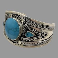 Boho Bracelet, Kuchi Cuff, Afghan Jewelry, Composite Turquoise, Vintage, Middle Eastern, Silver Cuff, Silver, Wide, Afghan, Ethnic, Tribal