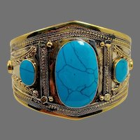 Turquoise Bracelet, Afghan, Kuchi, Vintage Cuff, Brass, Silver, Composite Turquoise, Middle Eastern, Nomad, Gypsy, #2