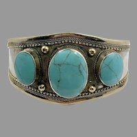 Turquoise Bracelet, Afghan, Kuchi, Vintage Cuff, Composite Turquoise, Middle Eastern, Nomad, Gypsy