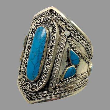 Kuchi Bracelet, Afghan, Turquoise Stone, Vintage Bracelet, Silver Cuff, Middle Eastern
