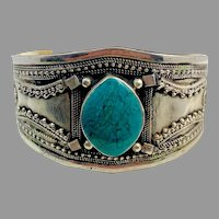 Gypsy Bracelet, Kuchi Cuff, Afghan, Turquoise, Vintage, Middle Eastern, Boho, Silver Metal, Ethnic, Tribal, Composite