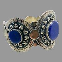 Lapis Bracelet, Afghan, Kuchi Jewelry, Silver Cuff, Vintage Cuff, Middle Eastern, Turkmen, Gypsy, Nomad
