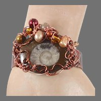 Fossil Bracelet, Ammonite, Cuff bracelet, Forged Copper, Wire Wrapped, Pearls Beads, Rustic Organic, Unisex Mens, Boho Statement
