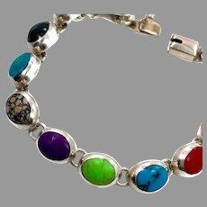 Turquoise Bracelet, Black Onyx, Multi-Stone, Sterling Bracelet, Vintage Mexico, Red Jasper, Gaspeite, Leopard Jasper, Links, Linked