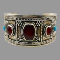 Carnelian Cuff, Old Silver, Kuchi Bracelet, Silver Cuff, Boho, Vintage Bracelet, Middle Eastern, Turkmen, Afghan, Ethnic