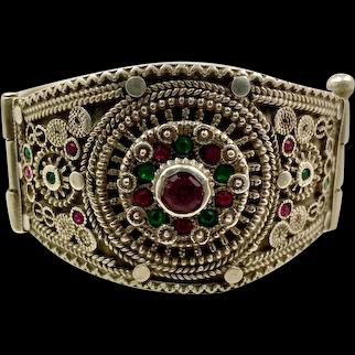Old Silver Bracelet, Vintage Bracelet, Afghan Bracelet, Middle Eastern, Pakistan, Balochi Tribe, Small Wrist, Hinged Bangle Cuff, Nomadic