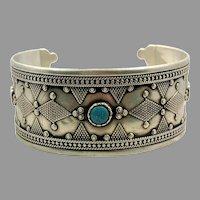 Old Silver Bracelet, Vintage Bracelet, Afghan Cuff, Middle Eastern, Pakistan, Turquoise
