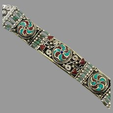 Turquoise Bracelet, Tibetan Silver, Coral Inlay, Nepal Jewelry, Vintage Bracelet, Boho Bohemian, Tribal Ethnic, Gypsy Hippie, Tibet Nepal