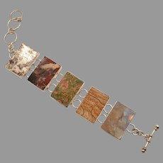 Stone Bracelet, Wide, Jasper, Unakite, Designer, Charles Albert, Fine Silver, Vintage Bracelet, .950, Sterling Silver