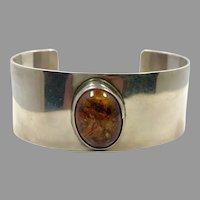 Amber Bracelet, Sterling Silver, Cuff Bracelet, Tahe, Navajo, Native American, Vintage