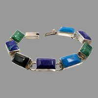 Turquoise Bracelet,Multi-Stone, Sterling Silver, Mexico, Malachite, Black Onyx, Azurite, Vintage Bracelet, Links Linked
