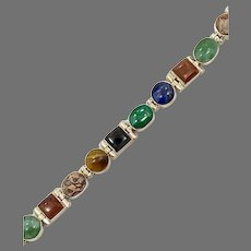 Mixed Stone Bracelet, Sodalite, Jasper, Malachite, Onyx, Sterling Bracelet, Vintage, Mexico, Links, Linked, Multi Stone