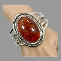 Amber Bracelet, Native American, Navajo, Big, Vintage Cuff, Sterling Silver, Honey Amber, Amber Cuff, Wide, Big Statement