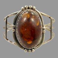 Amber Bracelet, Large Vintage Cuff, Sterling Silver, Native American, Navajo, Massive, Honey Amber, Amber Cuff, Wide, Big Statement