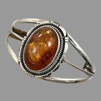Amber Bracelet, Native American, Navajo, Vintage Cuff, Sterling Silver, Honey Amber, Amber Cuff, Wide, Big Statement