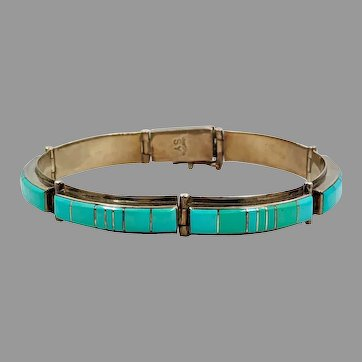Turquoise Bracelet, Sterling Silver, Vintage Bracelet, Native American, Zuni, Inlaid, Signed, SY, Links, Linked
