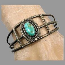 Turquoise Bracelet, Sterling Silver, Cuff Bracelet, Vintage Bracelet, Native American, Navajo, Small Wrist, 1970s, Boho
