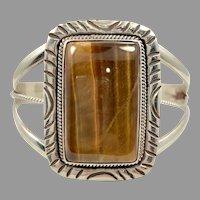 Tiger Eye Cuff, Huge Stone, Sterling Silver, Native American, Navajo, Vintage Bracelet, Heavy Silver