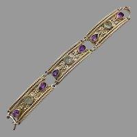 Amethyst Bracelet, Blue Topaz, Sterling Silver, Sajen, Vintage Bracelet, Designer, Bali, Linked Bracelet