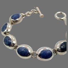 Sodalite Bracelet, Sterling Bracelet, Vintage Jewelry, Heavy Silver, Links Linked, Bohemian, Blue Stone
