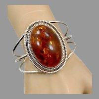 Amber Bracelet Big, Wide, Vintage Cuff, Sterling Silver, Honey Amber, Amber Cuff, Statement
