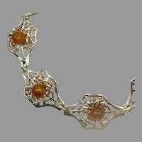 Amber Bracelet, Spider, Spiderweb, Sterling Silver, Vintage Bracelet, Unique, Honey Amber, Ornate Links