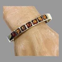 Amber Bracelet, Sterling Silver, Amber Cuff, Vintage Bracelet, Small Wrist. Baltic Amber, Honey Amber, Modern, Minimalist, Stacking Cuff